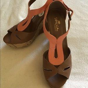 Sbicca two tone wedge heels